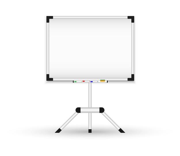 Tableau Noir Magnétique Sur Un Trépied. Tableau De Conférence Réaliste. Vecteur Premium