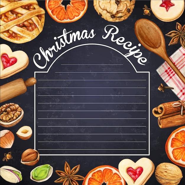 Tableau Noir Watercolo Hipsterr Avec épices De Noël Et Biscuits Vecteur Premium