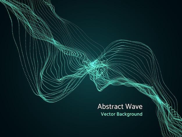 Tableau de particules dynamiques, vague de musique abstraite 3d. notion de vecteur dynamique Vecteur Premium
