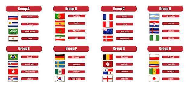 Tableau de score de football championnat du monde 2018 par groupes Vecteur Premium