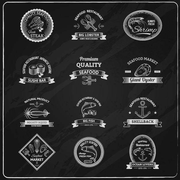 Tableau vintage badges de fruits de mer Vecteur gratuit