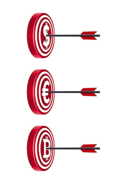 Tableaux cibles avec des devises et des flèches Vecteur Premium