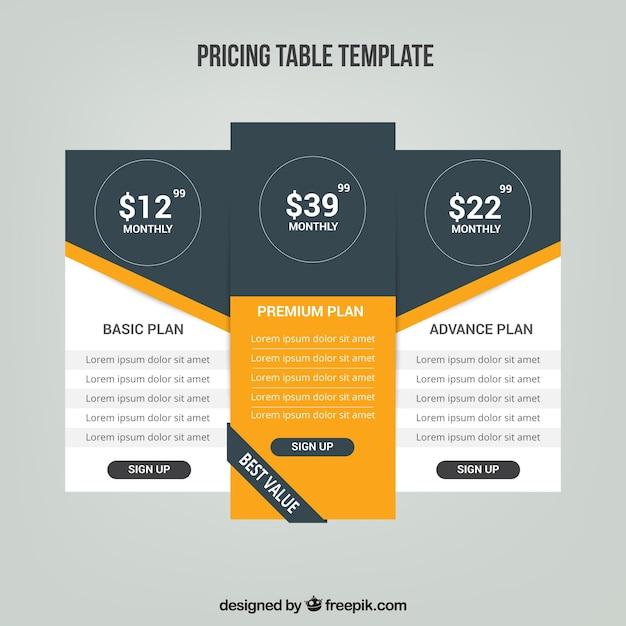 Tableaux de prix avec des tarifs différents Vecteur gratuit