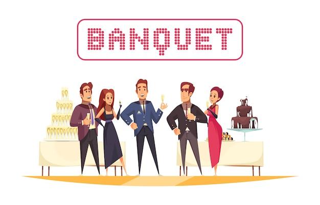 Tables De Banquet Avec Organisateur De Nourriture Et De Boissons Et Invités Sur Fond Blanc Dessin Animé Vecteur gratuit