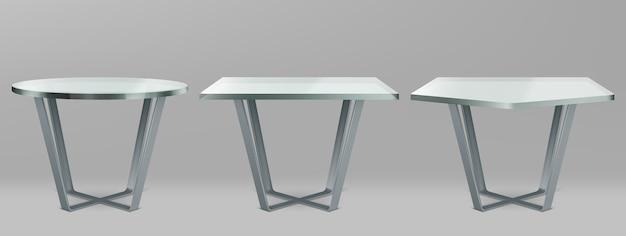 Tables Modernes Avec Plateau En Verre Rond, Carré Et Pentagone Vecteur gratuit