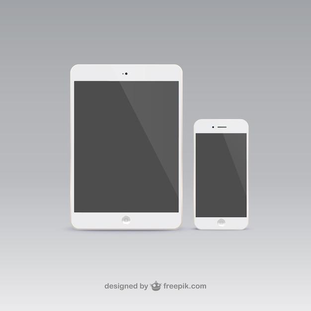 Tablet pc et téléphone mobile Vecteur gratuit