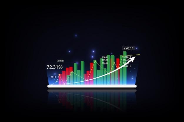 Tablette montrant un hologramme virtuel croissant de statistiques Vecteur Premium
