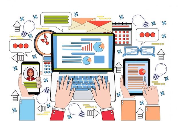 Tablette ordinateur portable et téléphone intelligent finance graphique personnes d'affaires travailler rapport de données, statistiques documents bureau bureau lieu de travail Vecteur Premium