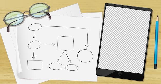 Tablette Et Papier Sur La Table Vecteur gratuit