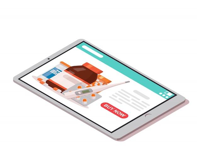Tablette Avec Pharmacie En Ligne Ouverte Sur L'écran Et Bouton Pour Acheter. Icône De Pharmacie En Ligne. Vecteur Premium