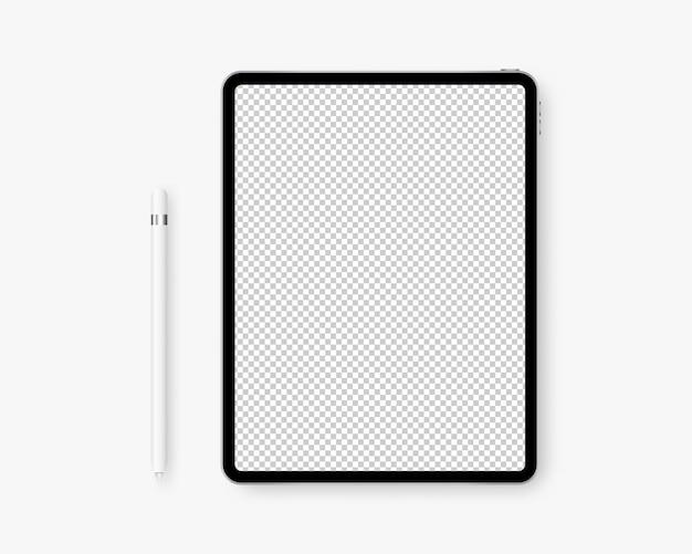 Tablette Réaliste Avec Un Crayon. Vecteur Premium