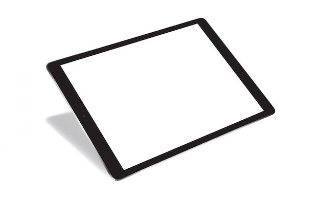 Tablette réaliste de perspective isolé sur blanc Vecteur Premium
