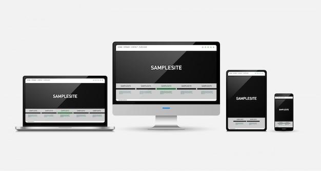 Tablette et téléphone portable isolé sur blanc Vecteur Premium