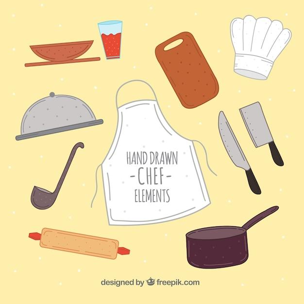 Tablier Et Autres éléments De Chef En Style Dessiné à La Main Vecteur gratuit