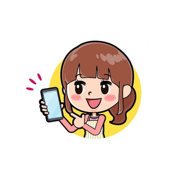 Tablier en ligne maman smartphone Vecteur Premium