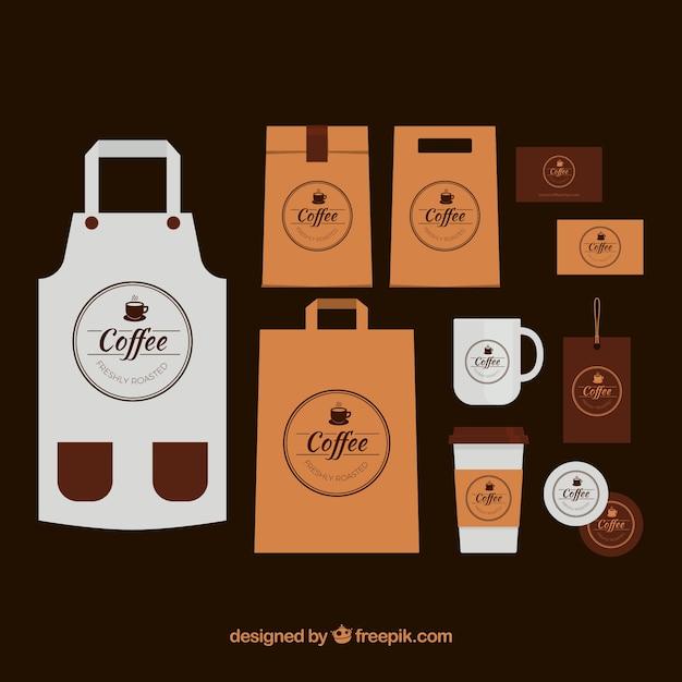 Tablier Paquet De Café Et Articles Vecteur gratuit