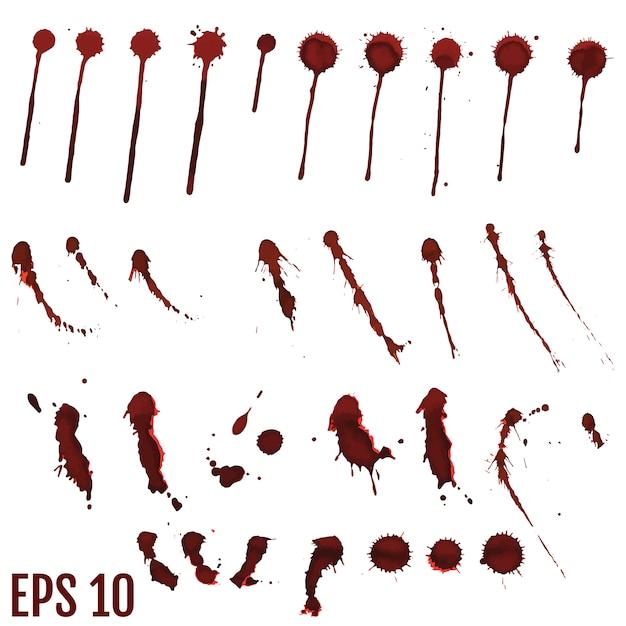 Tache de sang, gouttes rouges, éclaboussures d'art peint Vecteur Premium
