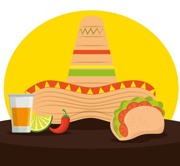 Tacos Mexicains Avec Tequila Et Chapeau Pour Célébrer L'événement Vecteur gratuit