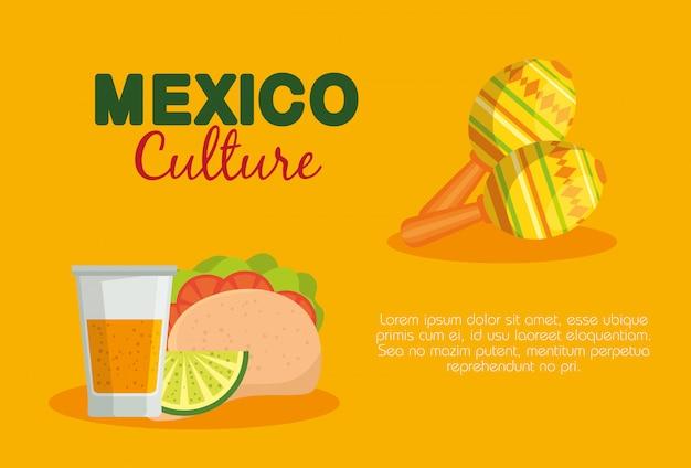 Tacos Mexicains Et Tequila Avec Maracas à L'événement Vecteur gratuit