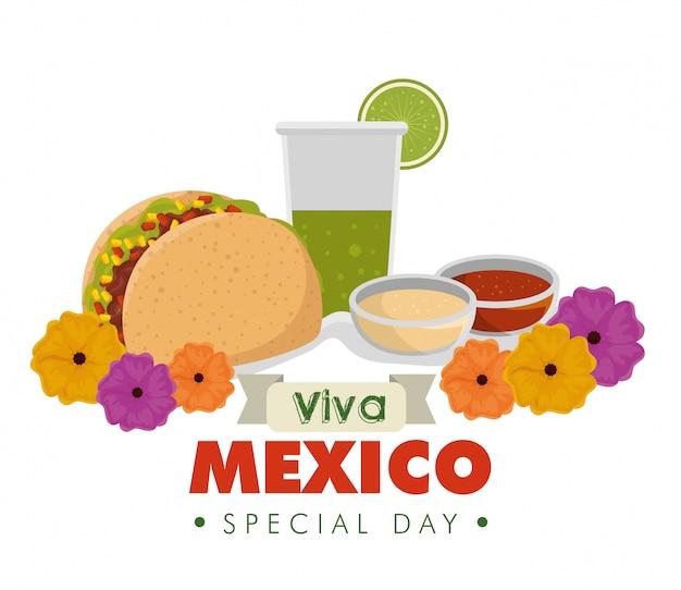 Tacos Avec Verre à La Tequila Et Fleurs Pour événement Vecteur gratuit