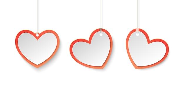 Tags Coeur Rouge Et Blanc Pour Le Thème De L'amour Dans Le Style Du Papier. Vecteur Premium