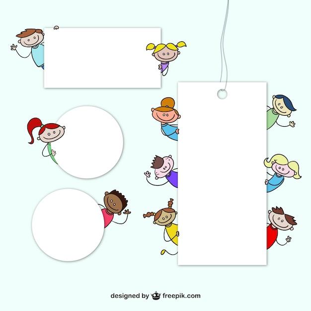 Tags avec des dessins animés pour enfants Vecteur gratuit