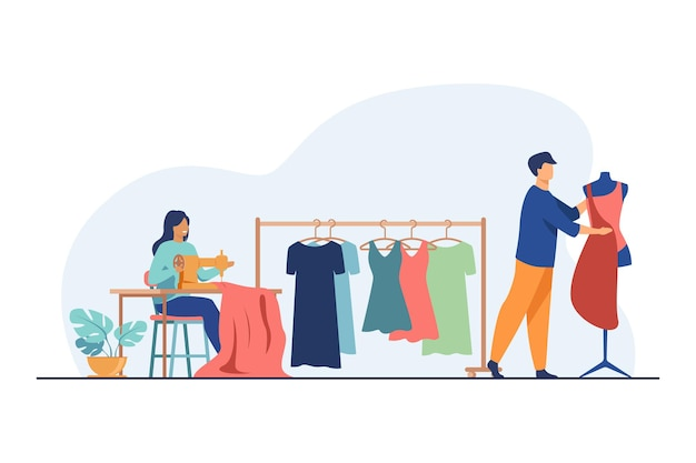 Les Tailleurs Cousent Des Vêtements En Studio. Machine à Coudre, Mannequin, Tissu, Robes Suspendues Illustration Plate Vecteur gratuit