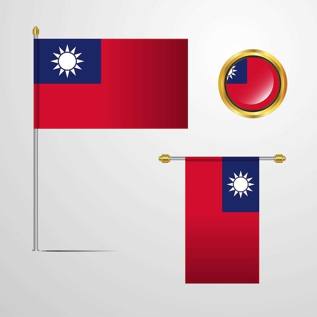 Taiwan Agitant La Conception Du Drapeau Avec Vecteur De Badge Vecteur Premium