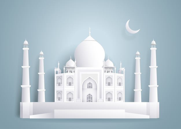 Taj mahal bâtiments en papier sur fond gris bleu. Vecteur Premium