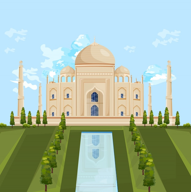 Taj mahal inde bâtiment attraction Vecteur Premium
