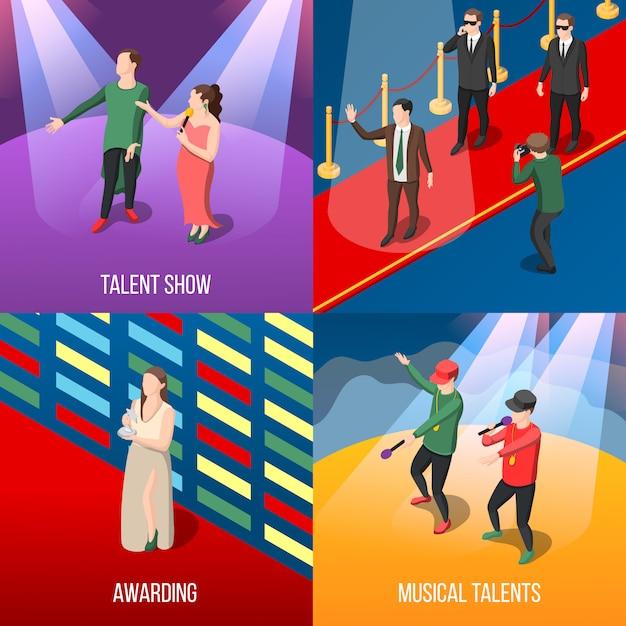 Talents And Awards Set De Composition Isométrique Vecteur gratuit