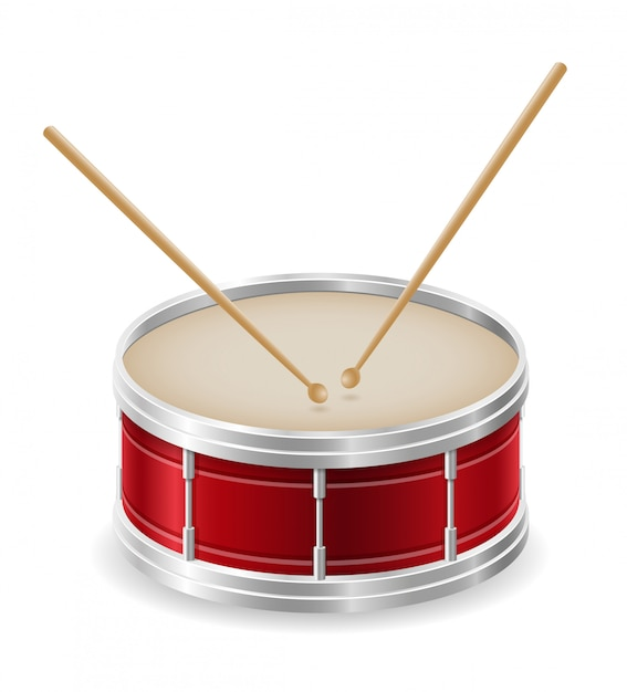 Tambour instruments de musique stock illustration vectorielle Vecteur Premium