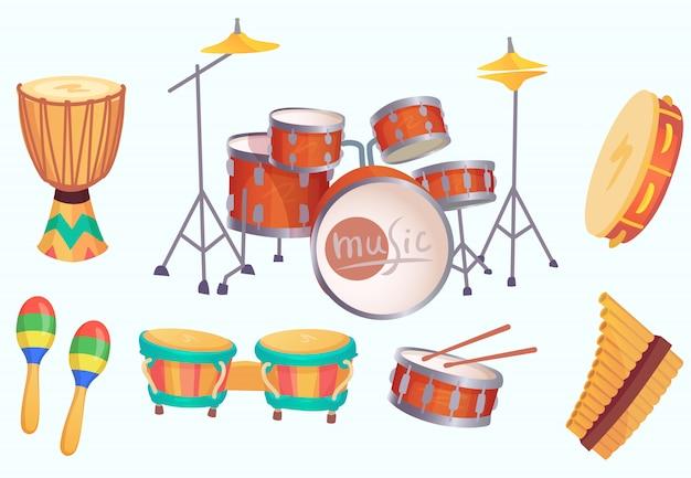 Tambours de bande dessinée. instruments de batterie de musique. collection isolée d'instruments de musique Vecteur Premium