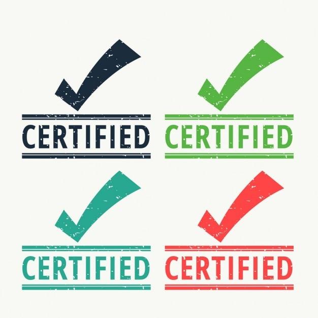 Tampon en caoutchouc certifié avec coche Vecteur gratuit