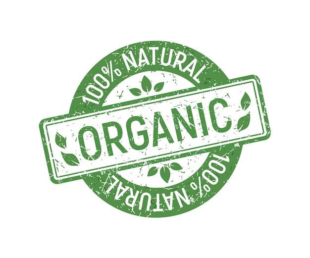 Tampon En Caoutchouc Organique, Style Naturel écologique Vert Sur Timbre En Caoutchouc Grunge. Vecteur Premium