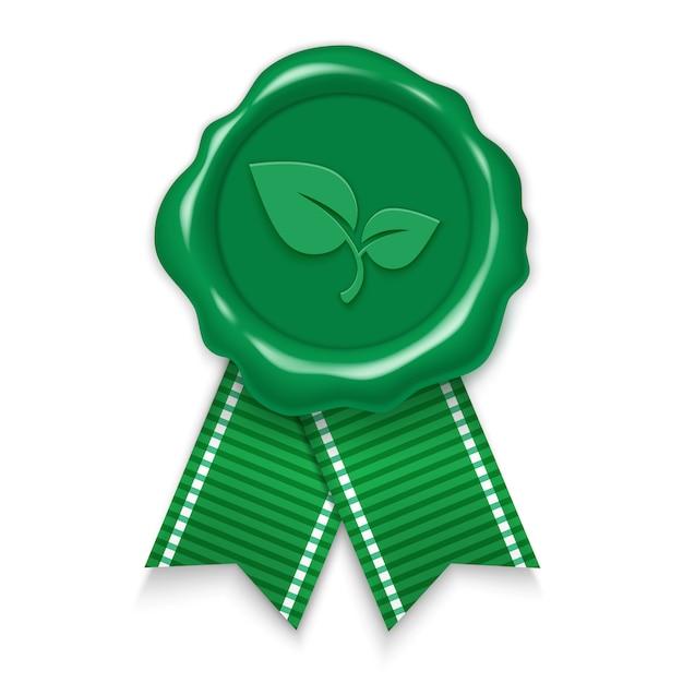 Tampon, Naturel Et écologique, Sceau De Cire Verte Avec Des Rubans. Illustration Réaliste 3d Isolée Sur Fond Blanc. Vecteur Premium