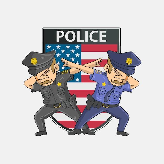 Tamponner La Police Avec Fond Américain Vecteur Premium