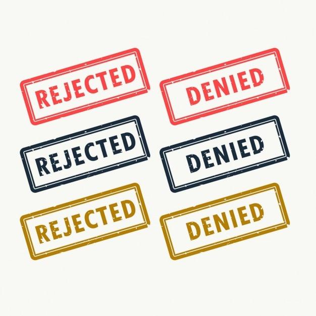 Tampons en caoutchouc rejetés et refusés fixés en différentes couleurs Vecteur gratuit