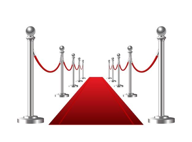 Tapis D'événement Rouge Sur Fond Blanc. Illustration Vecteur Premium