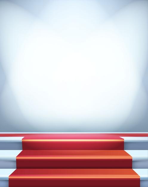 Tapis Rouge Dans Les Escaliers. Illustration De Modèle Vierge Avec Espace Pour Un Objet, Personne, Logo, Texte. Présentation, Gala, Cérémonie, Concept De Récompenses. Vecteur Premium