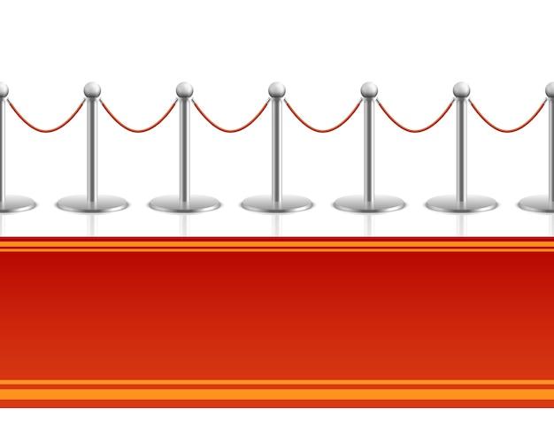 Tapis rouge avec fond transparent de corde barrière Vecteur Premium