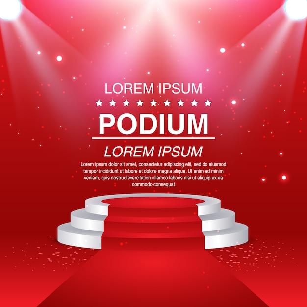 Tapis rouge et podium rond Vecteur Premium