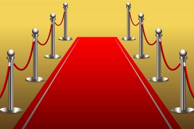 Tapis rouge pour célébrité avec barrière de corde Vecteur Premium