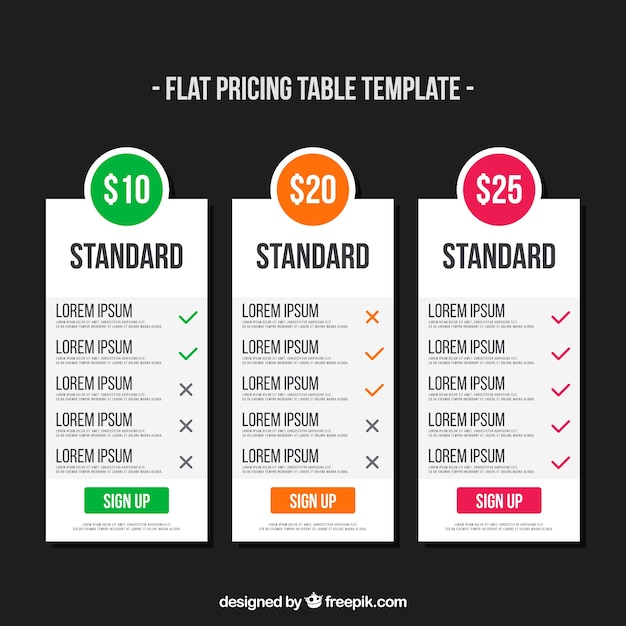 Tarifs bannières pour le web en design plat Vecteur gratuit