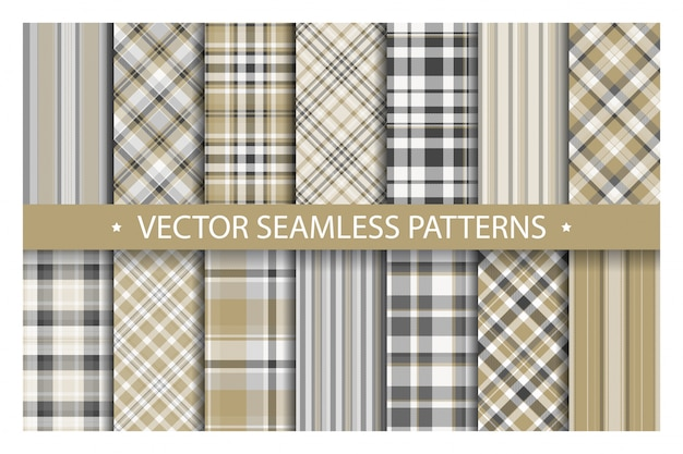 Tartan set plaid transparente motif. texture de tissu géométrique. Vecteur Premium