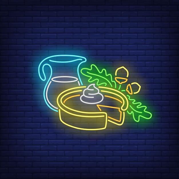 Tarte à La Citrouille Et Pot De Lait Au Néon Vecteur gratuit