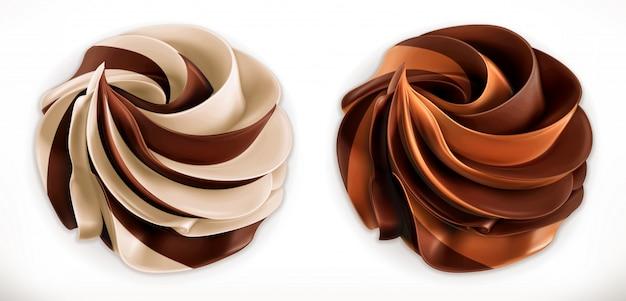 Tartinade De Duo De Tourbillons Au Chocolat. Vecteur Premium