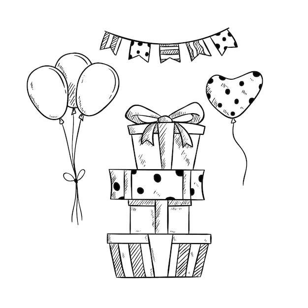 Tas de cadeaux d'anniversaire et ballon avec dessinés à la main ou style croquis Vecteur Premium