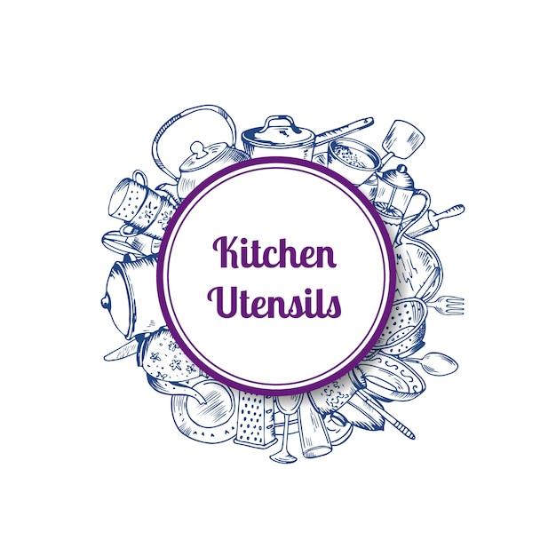 Tas d'ustensiles de cuisine dessinés à la main sous cercle avec ombre et place pour le texte Vecteur Premium