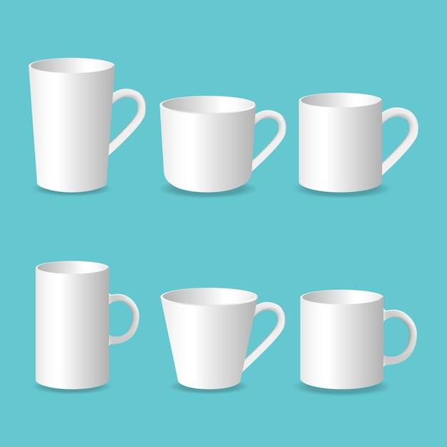 Tasse blanche 3d, ensemble réaliste de tasse à café isolé sur fond blanc Vecteur Premium